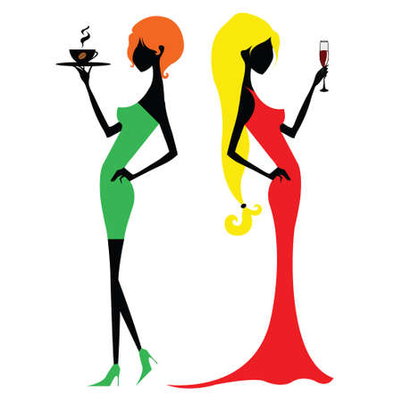 red haired person: Red-haired girl in a green dress with a coffee and a blonde in a red dress with wine Illustration