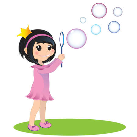 EPS 10 illustration  Little princess blowing soap bubbles Illustration