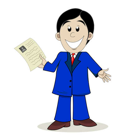 Business man shows resume Illustration