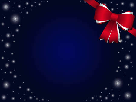 Blue christmas background with red bow Illustration