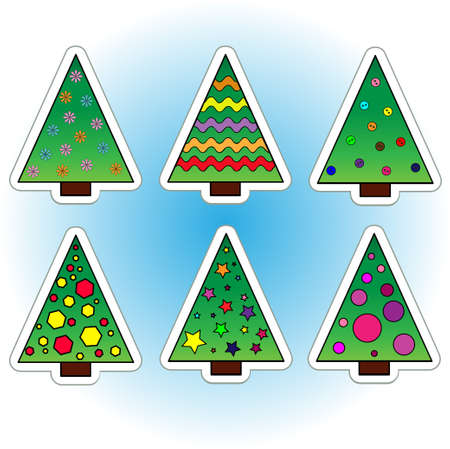Collection of Christmas trees  Icons   Objects Illustration
