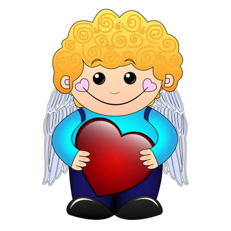 Cute little curly boy holding a red heart
