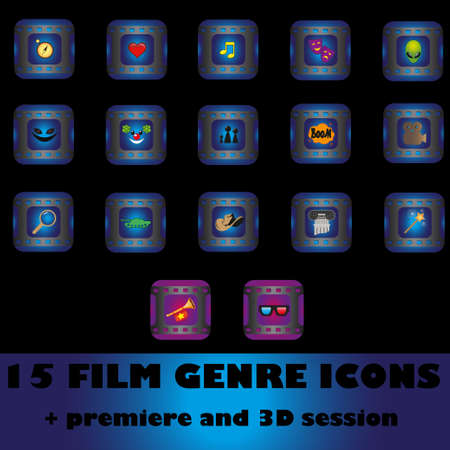 15 film genre icons premiere and 3D session Vector