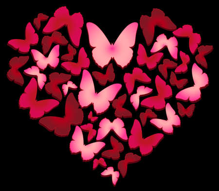 Valentine Butterflies on a black background Vector