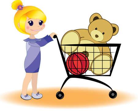 Little girl shopping Stock Illustratie