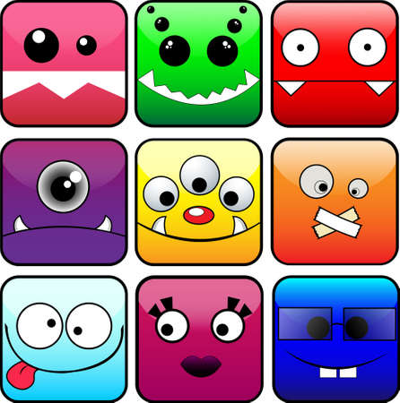 9 icons of monsters Stock Vector - 17006152