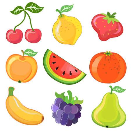 illustration of juicy cartoon fruits