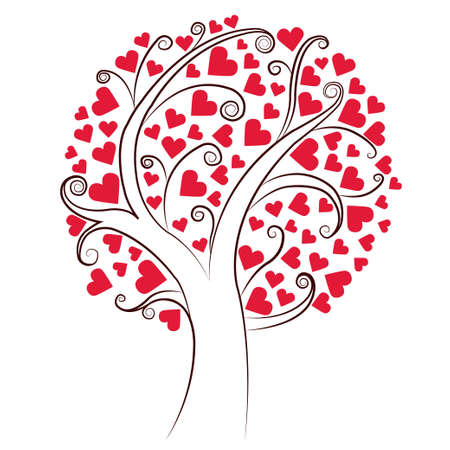 Abstract heart tree. Valentine Day, love, wedding, background Illustration