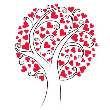 lovestruck: Abstract heart tree. Valentine Day, love, wedding, background Illustration