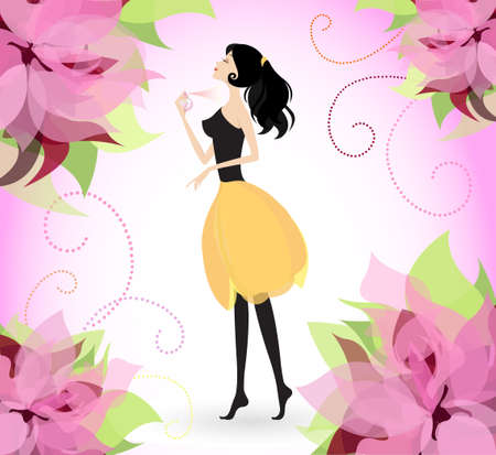 Young pretty woman spraying floral scented perfume Vector