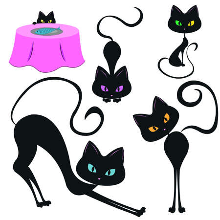 Vector illustration of 5 black funny cats