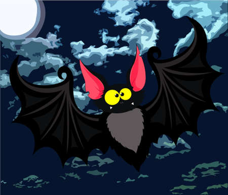 Vector illustration of funny cartoon bat