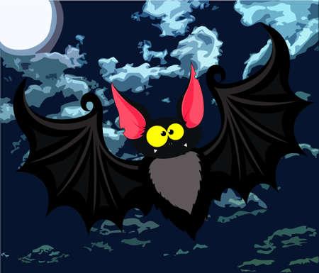 nocturnal animal: Vector illustration of funny cartoon bat