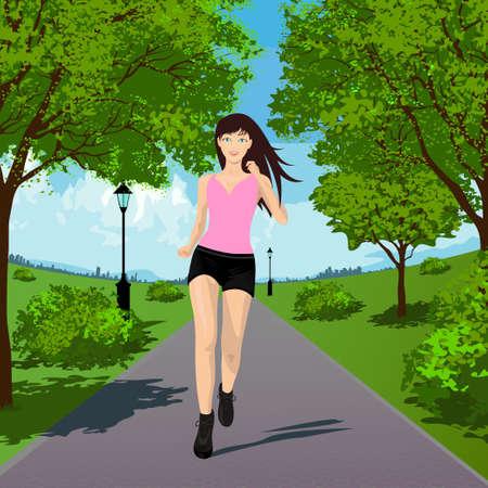 Woman Running in the Park. Vector illustration Stock Illustratie