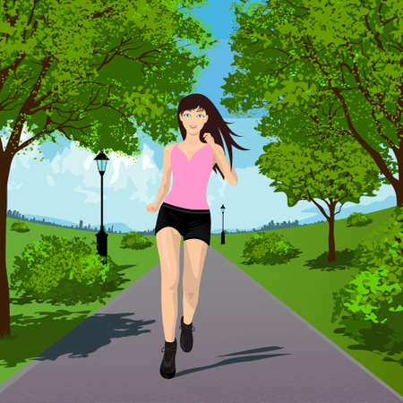 Woman Running in the Park. Vector illustration Vector