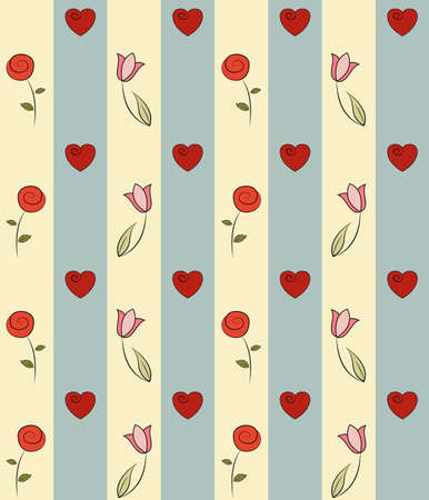 Seamless hand-drawn pattern with flowers and hearts