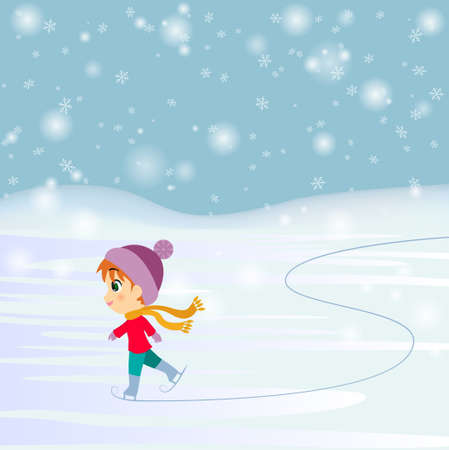 Vector illustration of cartoon skating child Illustration