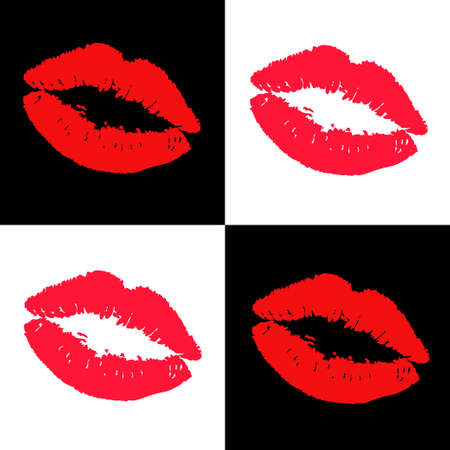 lipstick kisses design elements Illustration