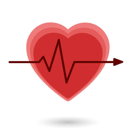 electrocardiograph: Heart vector icon isolated on white background