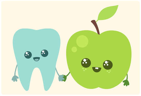 Tooth and apple. Vector illustration Illustration
