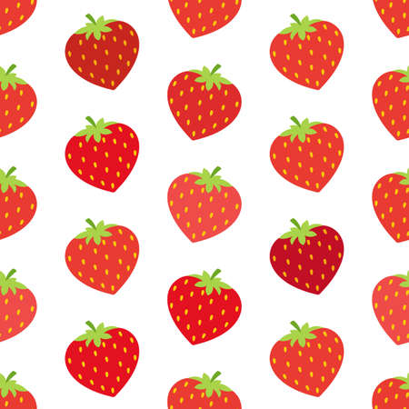 Seamless wallpaper. Cartoon strawberry. Pattern on white background