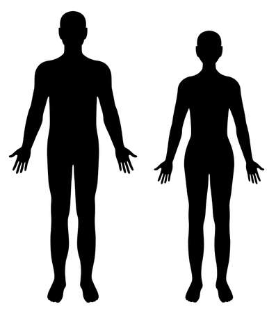 Vettore sagome di uomo e donna isolato su sfondo bianco
