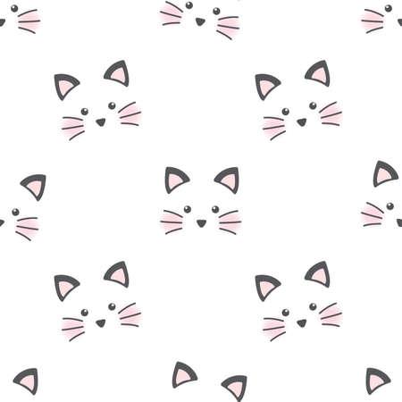 Cute cat face. Seamless wallpaper Stock Illustratie