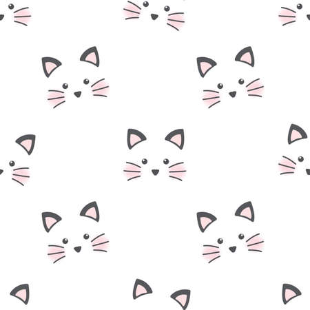 Cute cat face. Seamless wallpaper Illustration