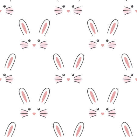Cute rabbit face. Seamless wallpaper