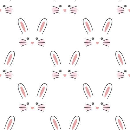 Cute rabbit face. Seamless wallpaper