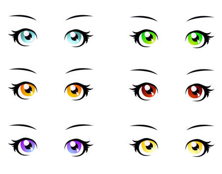 A set of eyes in manga style, isolated on white, eps10 vector format