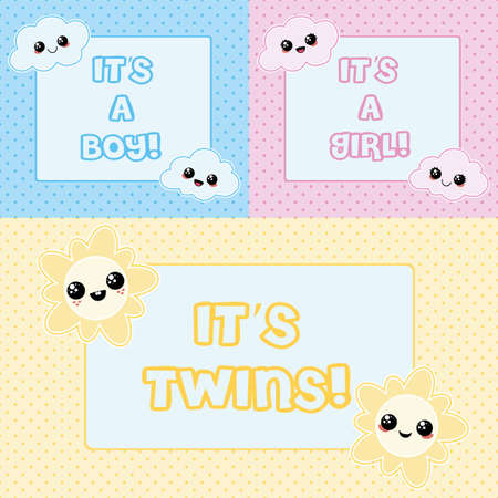 Baby cards - its a boy, its a girl and its twins Illustration