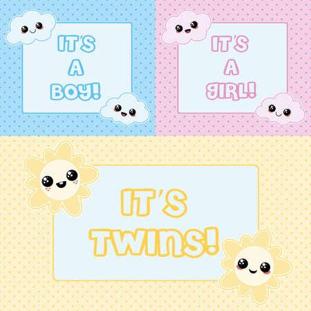 Tarjetas del bebé - es un muchacho, es una niña y es gemelos