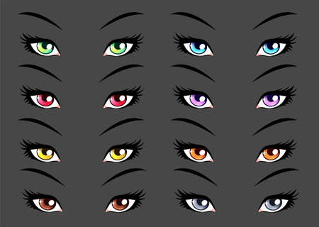 manga style: Set of anime, manga style eyes