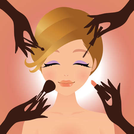 Makeup and beauty with young woman. Vector illustration.