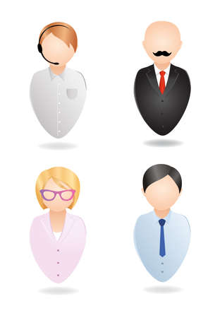Vector icons. Operator, manager, secretary, boss.