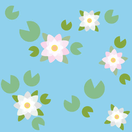 water lilies: Background with water lilies. Seamless pattern design