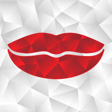 Red origami lips. Vector abstract geometric illustration.