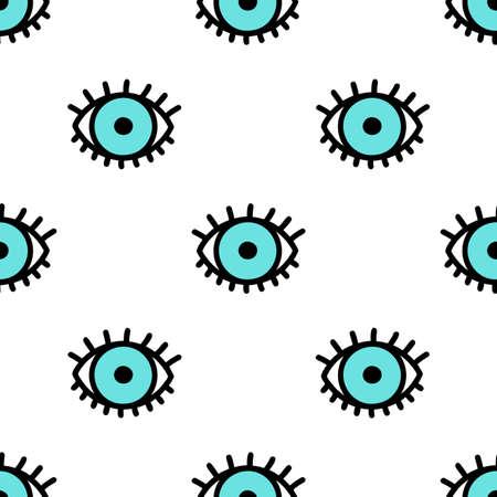 makeup eyes: Blue doodle eyes. Vector seamless pattern. Cute eye background illustration. Illustration
