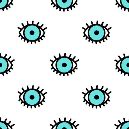 Blue doodle eyes. Vector seamless pattern. Cute eye background illustration. Vectores