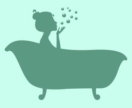 Frau in der Badewanne. Silhouette