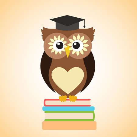 Owl in the academic cap sitting on a pile of books Illustration