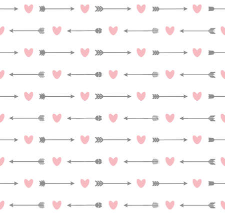 Cute seamless pattern with arrows and hearts