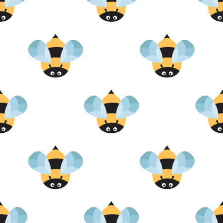 fainted: Bees on a white background. Cute cartoon pattern with insects in flight Illustration