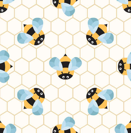 Bees on a honeycomb. Cute seamless pattern Illustration