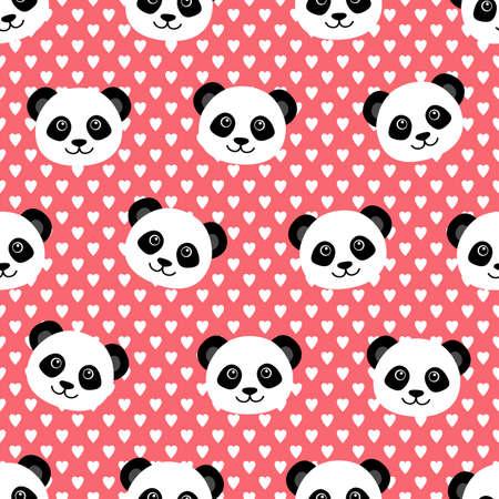 cute panda: Seamless pattern with cute panda