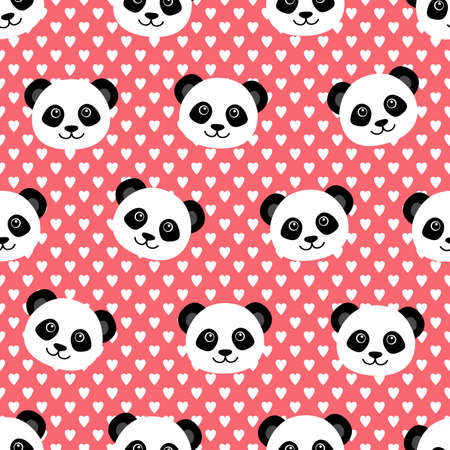 Seamless pattern with cute panda