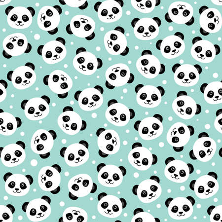Cute panda face. Seamless cartoon wallpaper