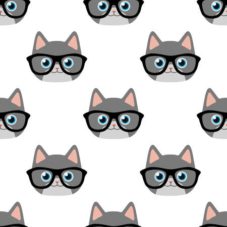 Vector seamless pattern with cat face in glasses Illustration