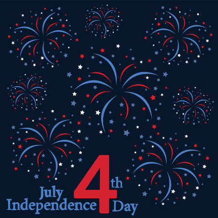 Happy Independence Day United states of America. 4th of July. Fireworks flat design. Vector illustration